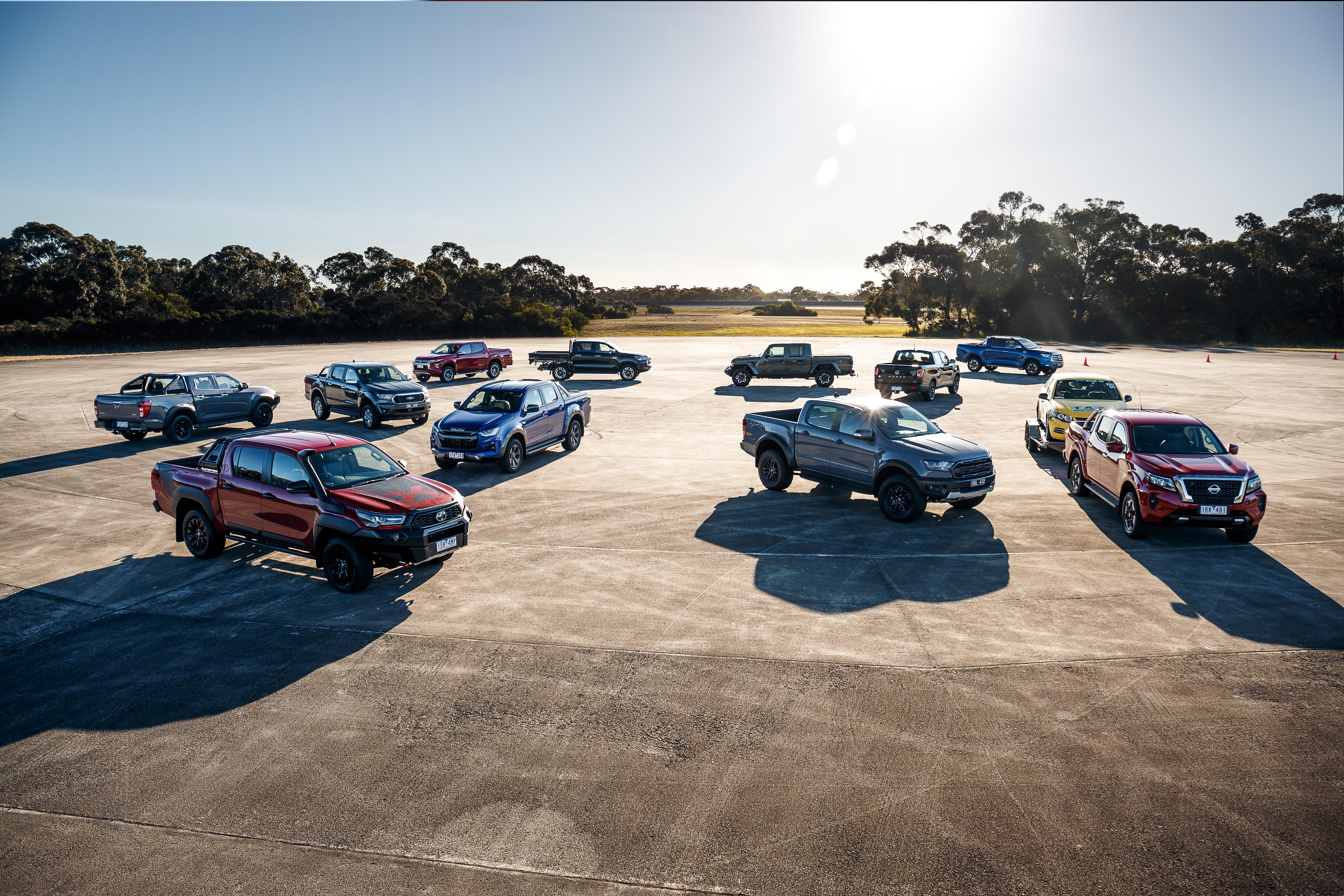 4 X 4 Australia Comparisons 2021 May 21 2021 Dual Cab Ute Mega Test Off Road Comparison Group Shot