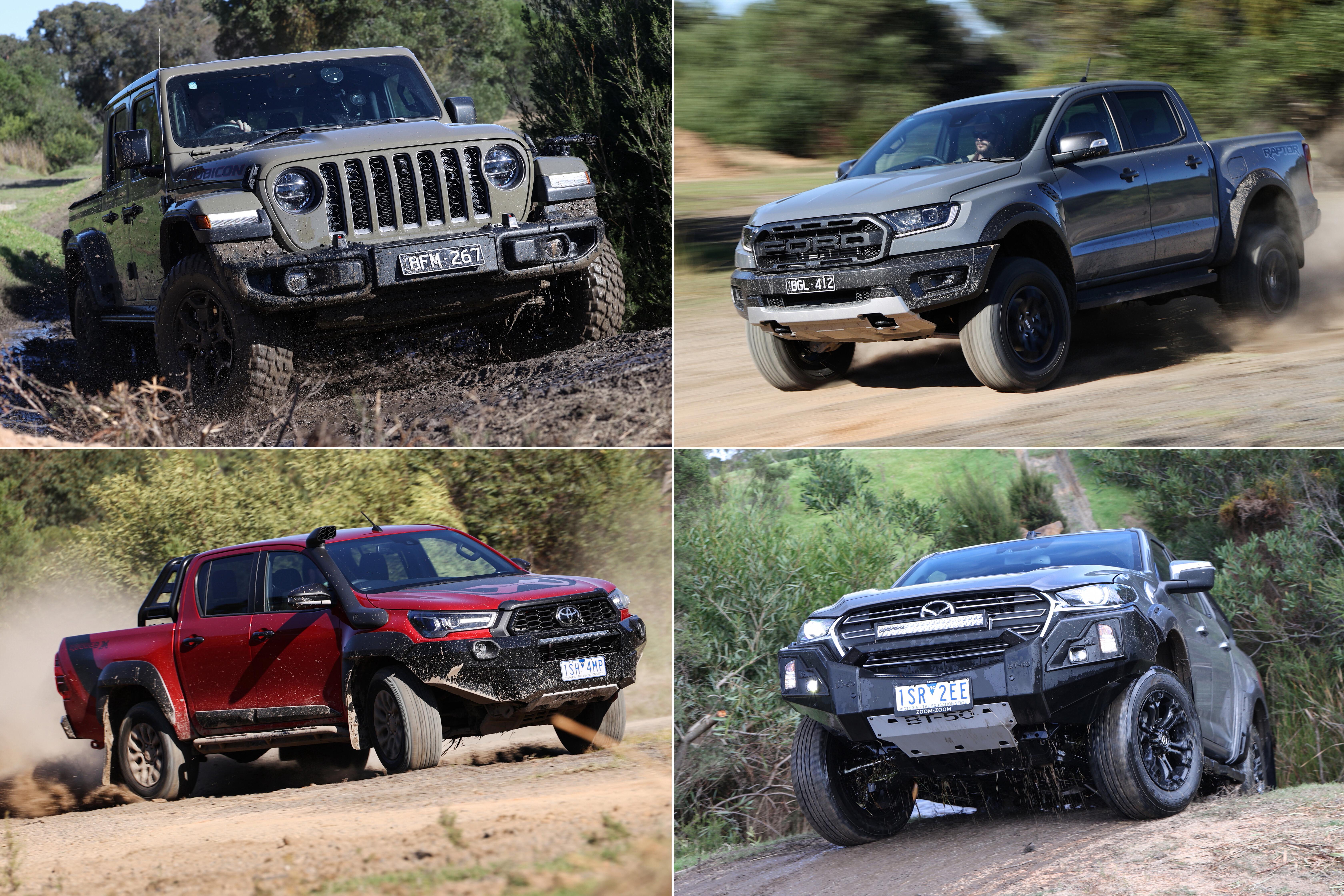 2021 Ford Ranger Raptor vs Jeep Gladiator Rubicon vs Mazda BT-50 Thunder vs Toyota Hilux Rugged X comparison test