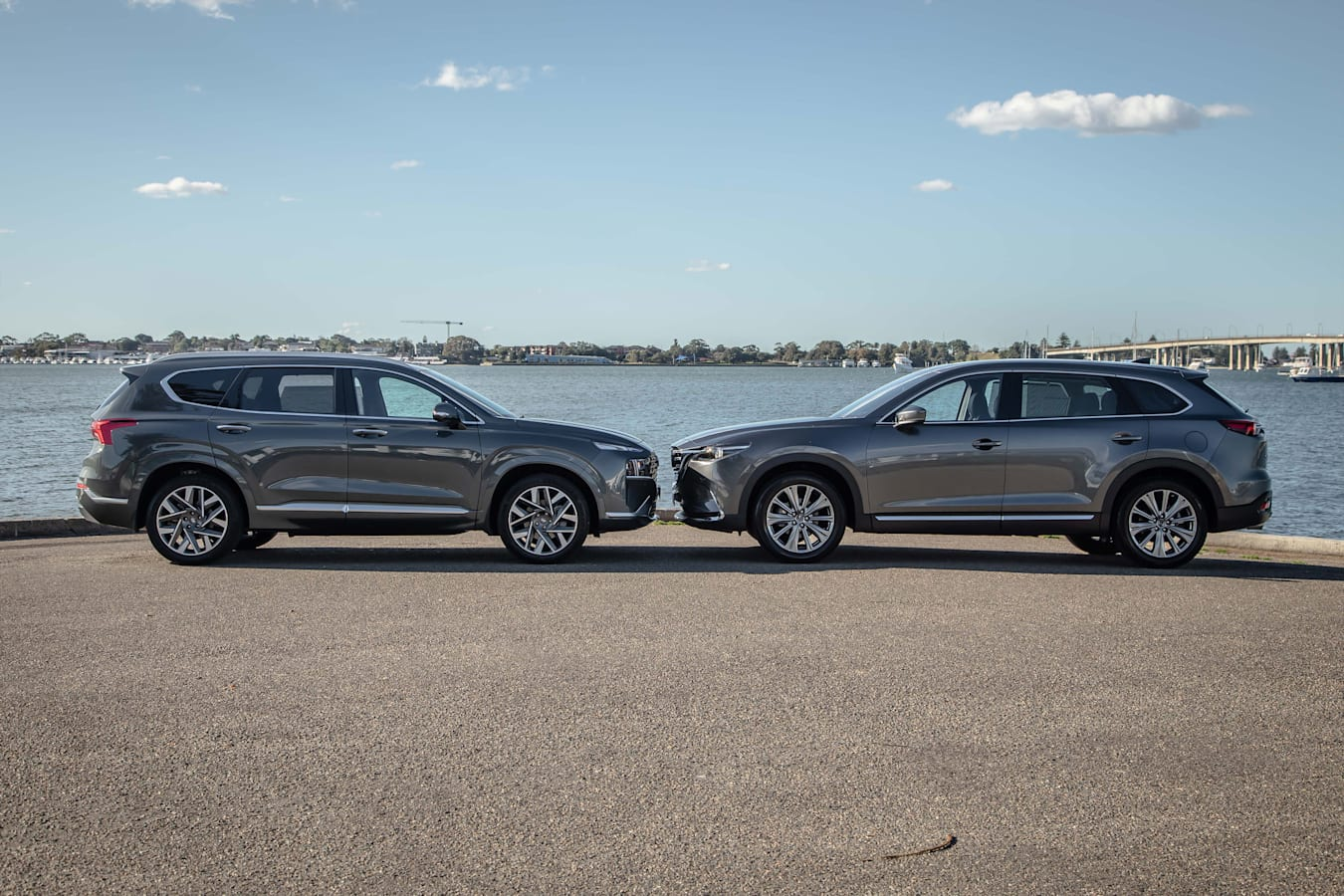 Which Car Car Reviews 2021 Hyundai Santa Fe Highlander Diesel Vs Mazda CX 9 Azami AWD Comparison Side Profile