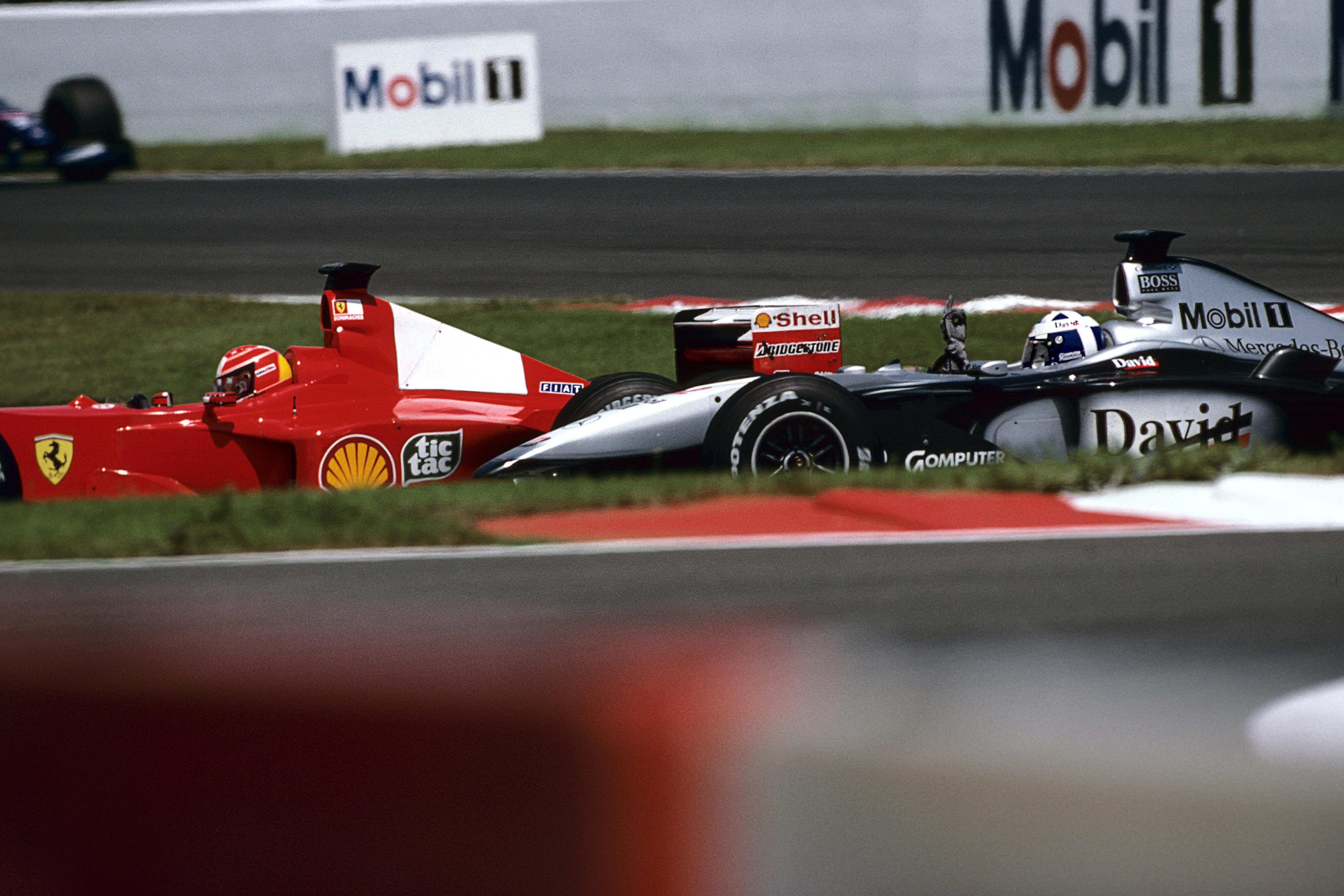 David Coulthard Michael Schumacher flipping the bird