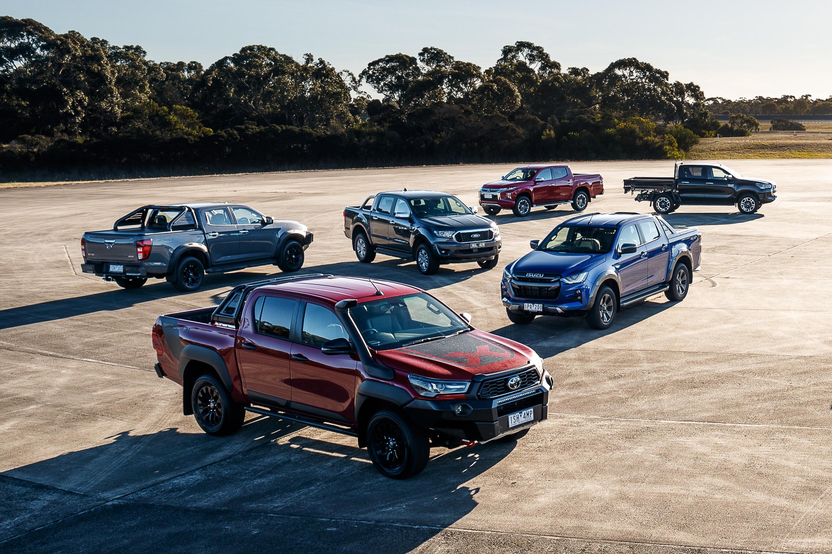 2021 Ford Ranger XLT vs Isuzu D-Max X-Terrain vs Mitsubishi Triton GLS vs Nissan Navara ST-X vs Toyota Hilux SR5 comparison