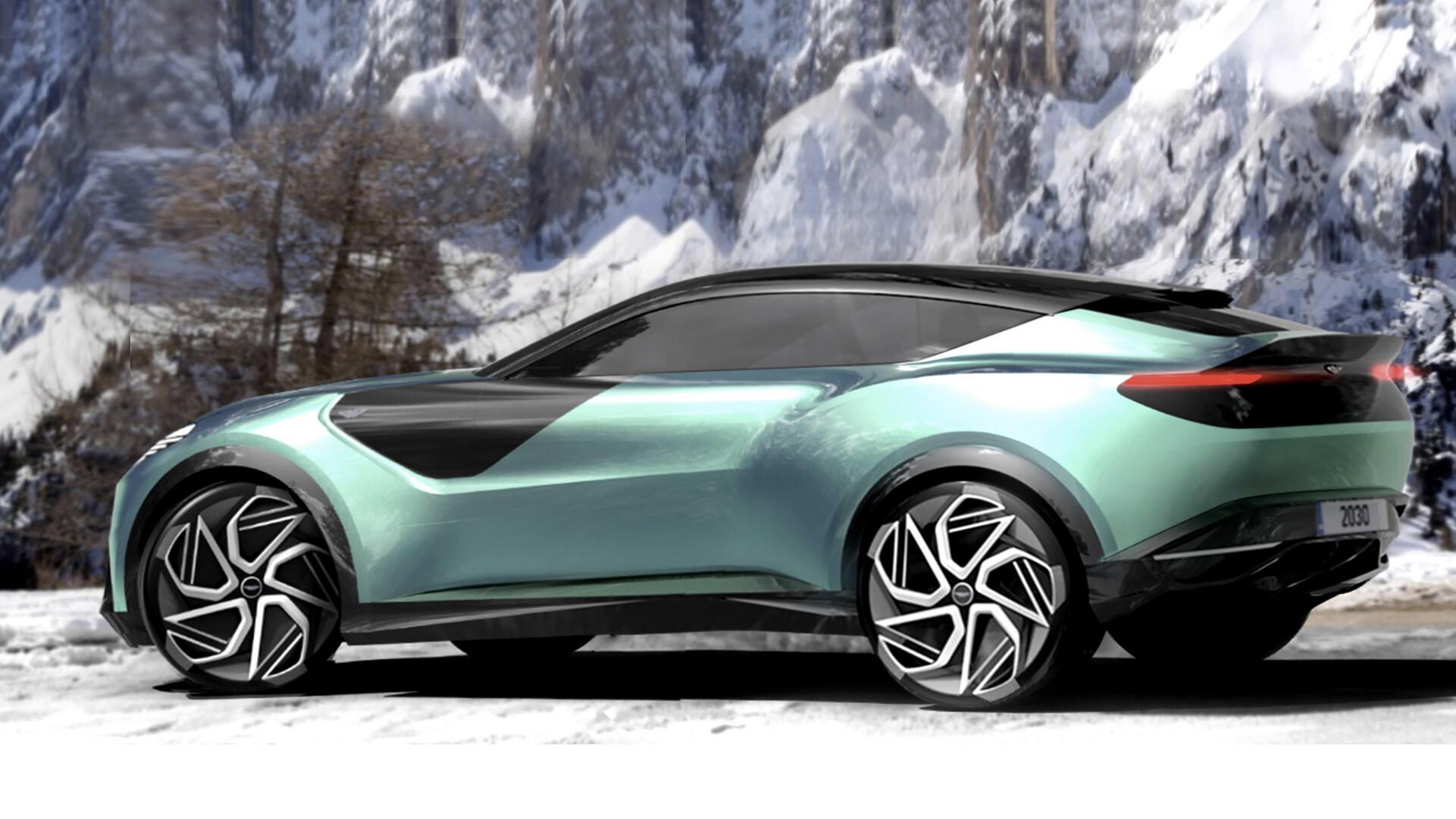 Aston Martin DBX rendered as futuristic EV SUV