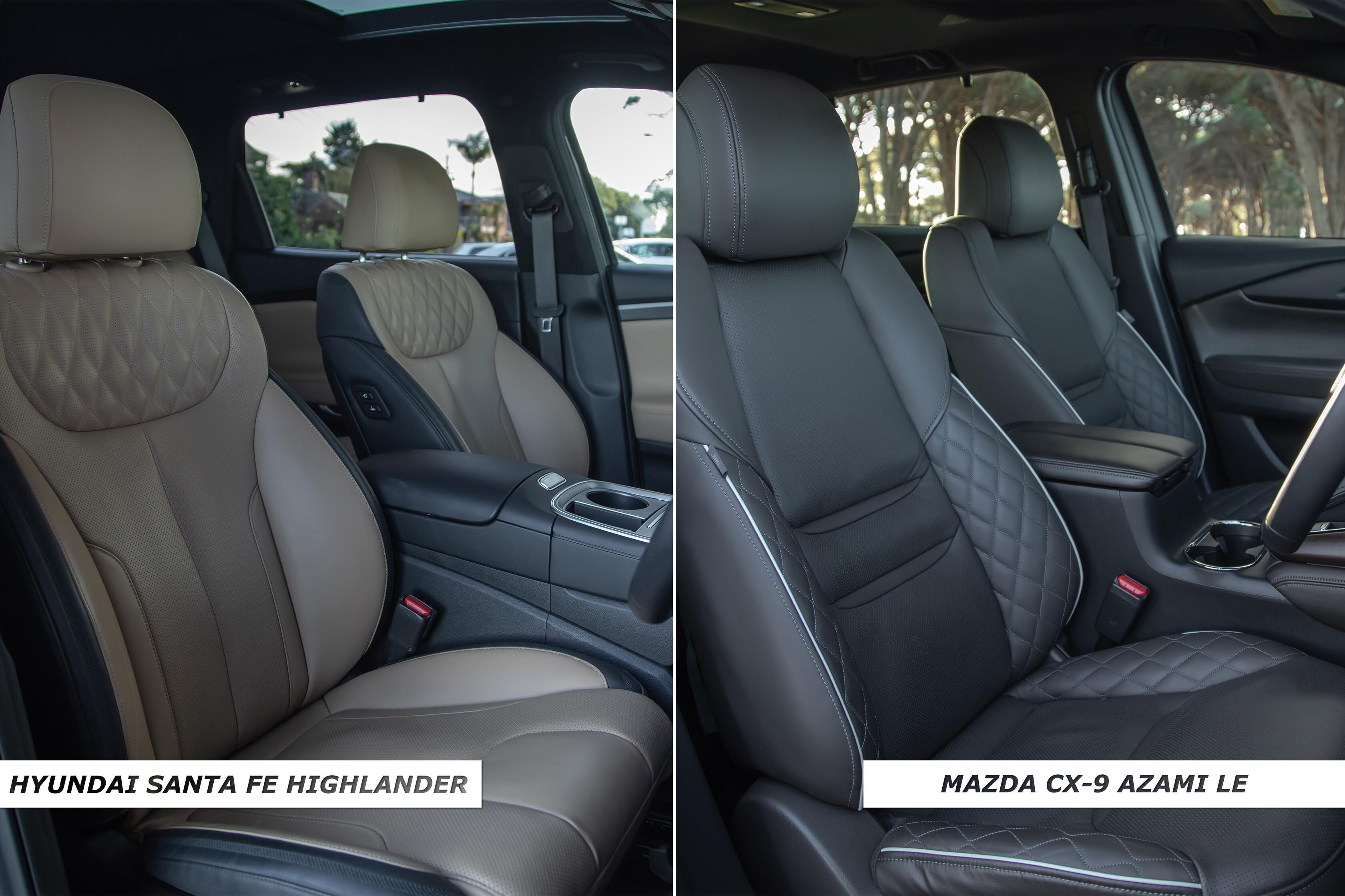 Which Car Car Reviews 2021 Hyundai Santa Fe Highlander Diesel Vs Mazda CX 9 Azami AWD Front Seat Comparison