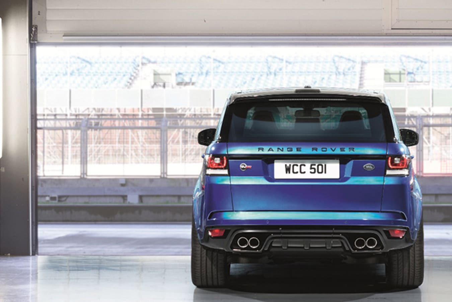 Blue Range Rover Sport Svr Parked Jpg