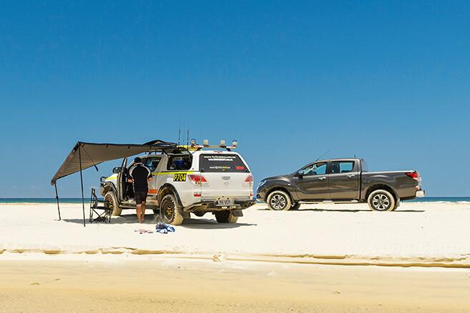 Mazda BT-50 at Fraser Island driving on beach