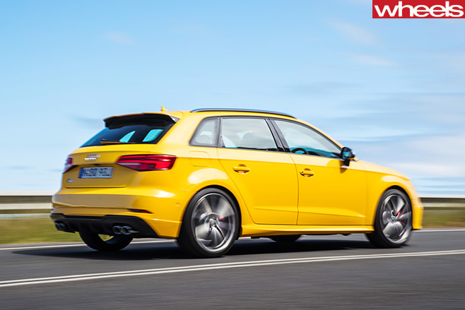 Audi -S3-driving -rear -side