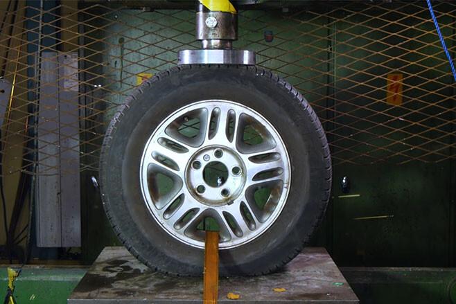 Alloy wheel crushed