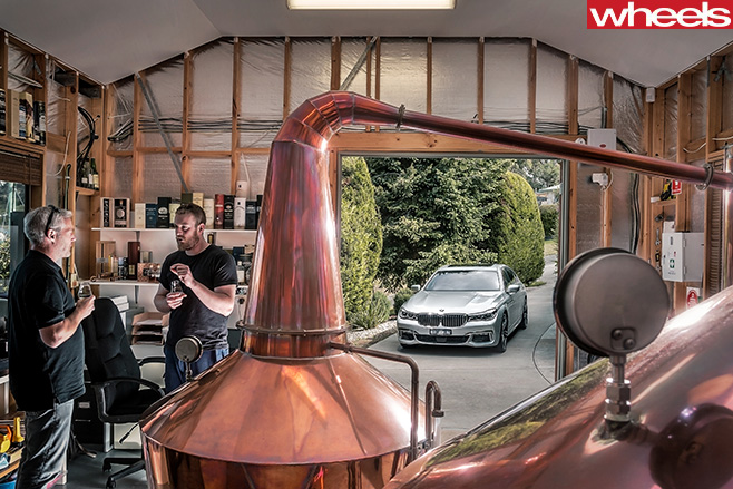 Whisky -Distillery -BMW-7-Series -parked -outside