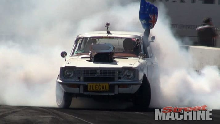 street machine, V8, supercharged, Corolla, Chevy V8, Corolla V8, Summernats, burnout