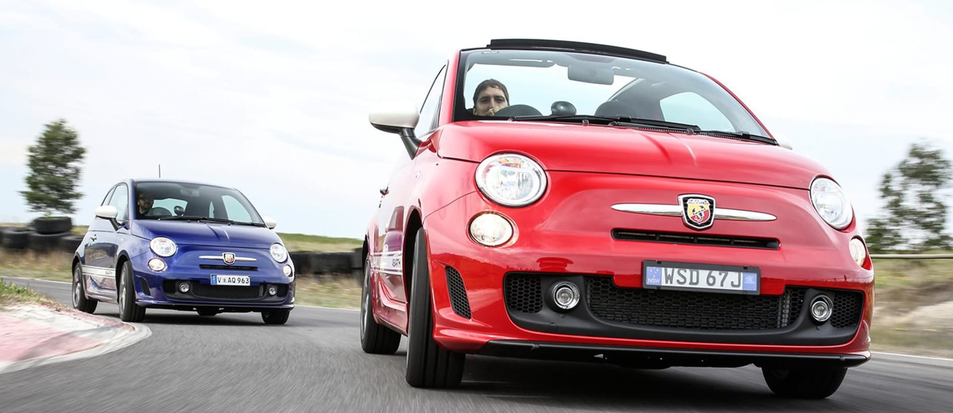 Red And Blue Fiat Abarth 595 Driving Side Top Jpg