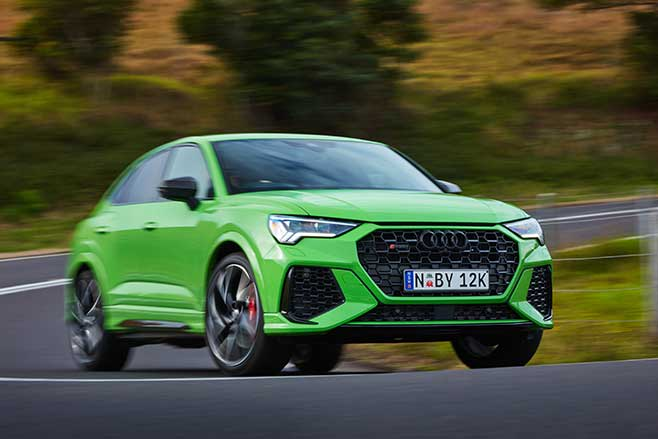 Adaptive dampers help the RS Q3 stay flat in corners.