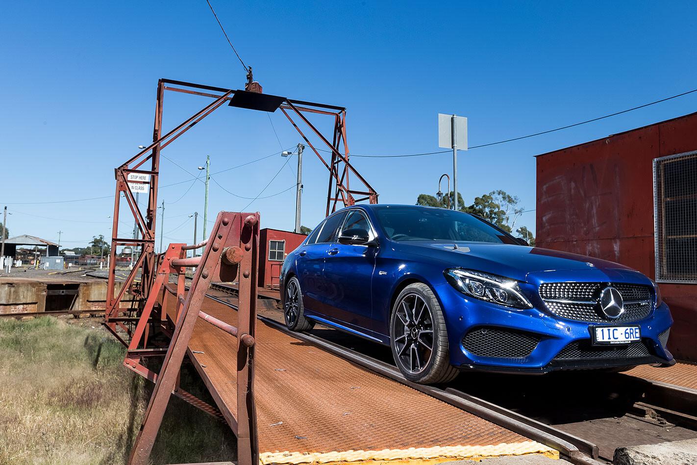 Blue Mercedes-AMG-C43