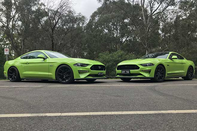 Two Ford Mustang GTs in Grabber Lime