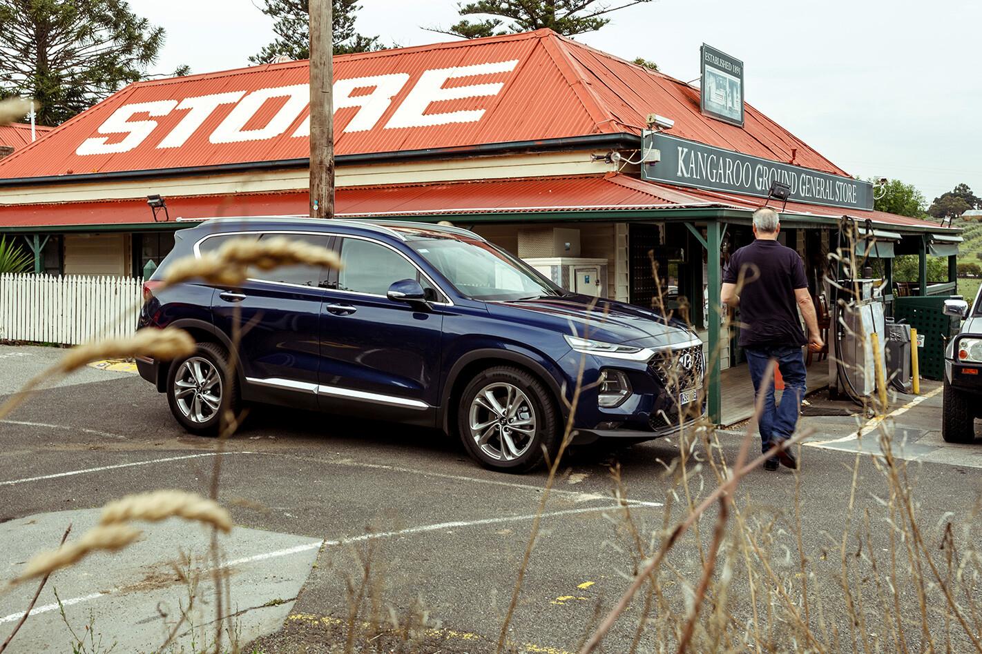 Parked 2019 Blue Hyundai Santa Fe Highlander