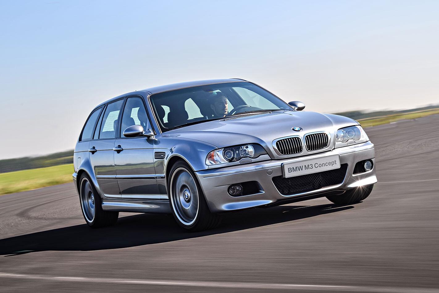 BMW E46 M3 Touring driving through a corner.