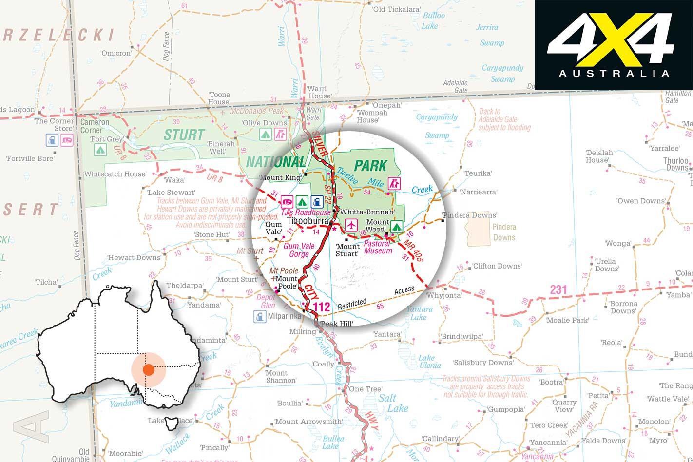 4 X 4 Trip Through The Tibooburra Gorge Loop Drive NSW Map Jpg