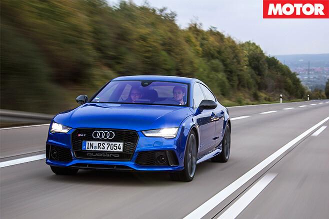 Audi driving motorway front