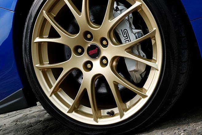 Subaru WRX STi gold BBS wheels