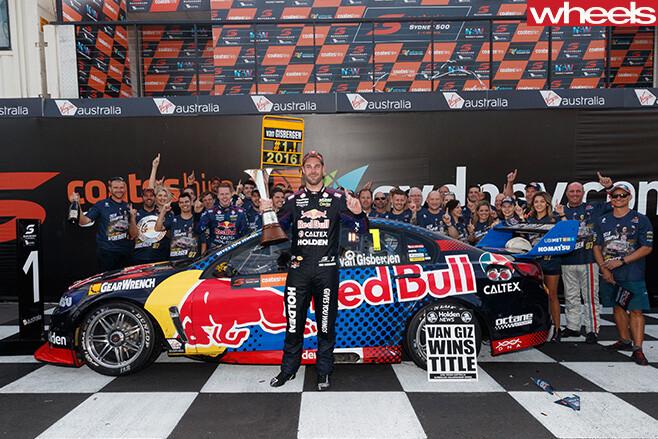 Van gisbergen celebrates with crew