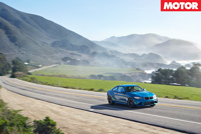 BMW M2 driving countryside