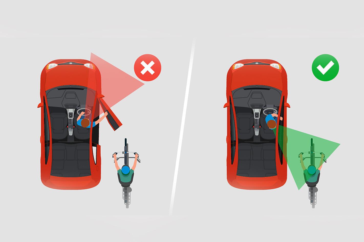 Dutch reach cyclist safety