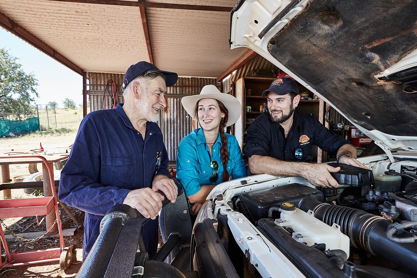 Jess Edwards and mechanic Allan Gray