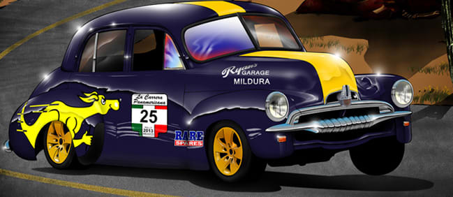 La Carrera Panamericana race, australian car, FJ Holden, powered by a 270hp red motor taking on the greatest cross-country historic race,