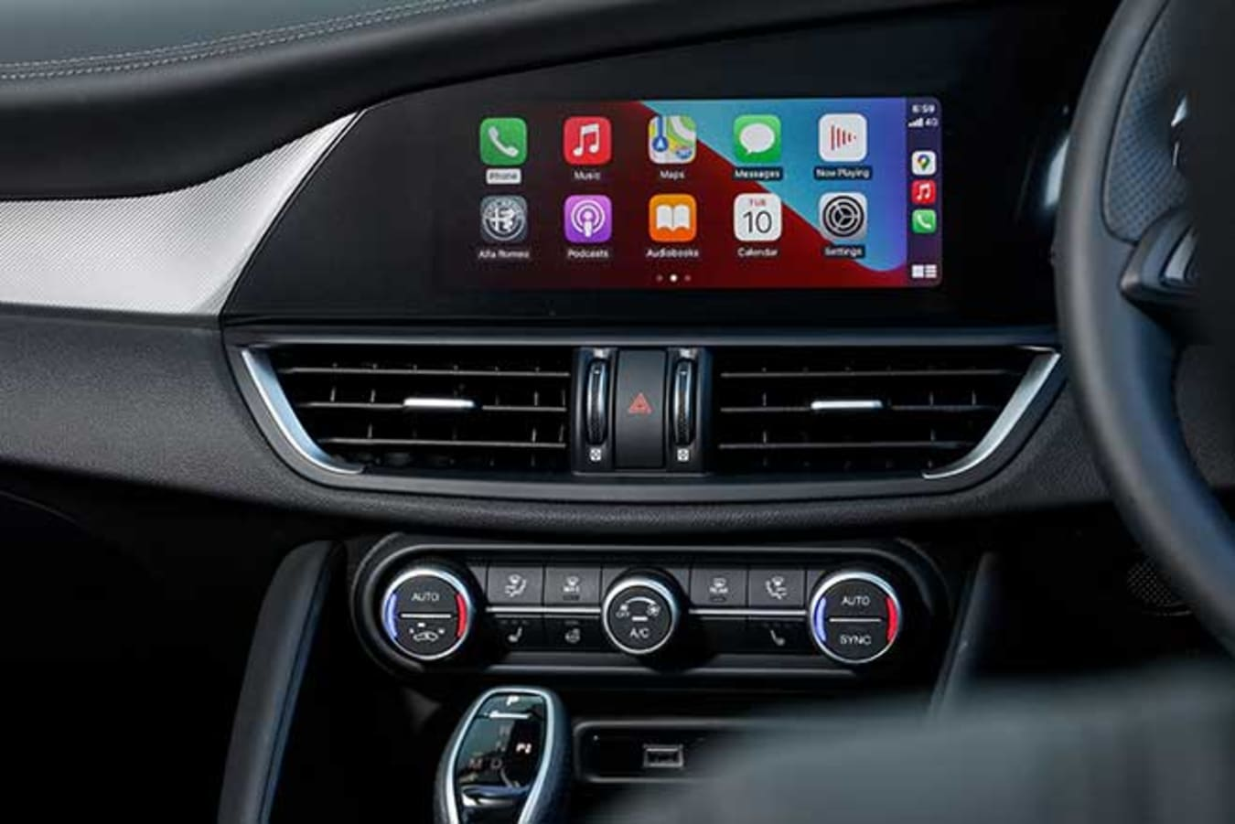 Apple CarPlay is controlled by the 8.8-inch touchscreen.