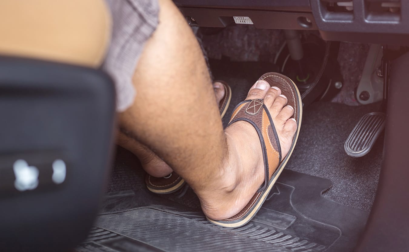 driving in sandals