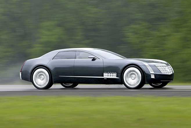 Cadillac Sixteen concept car driving.