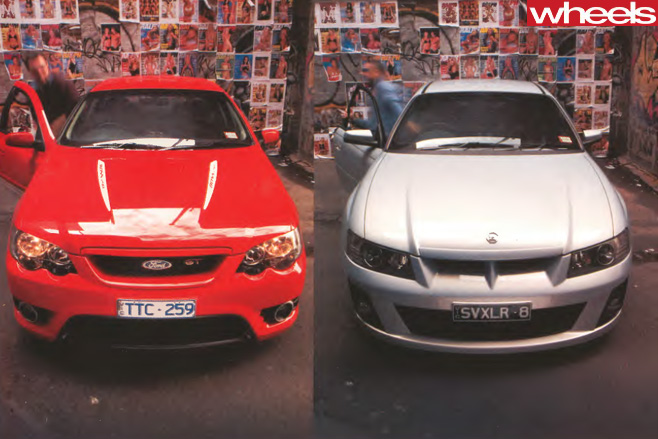 FPV-GT-vs -HSV-Clubsport -R8-parked