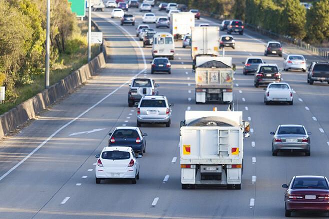 Cars merging on a freeway