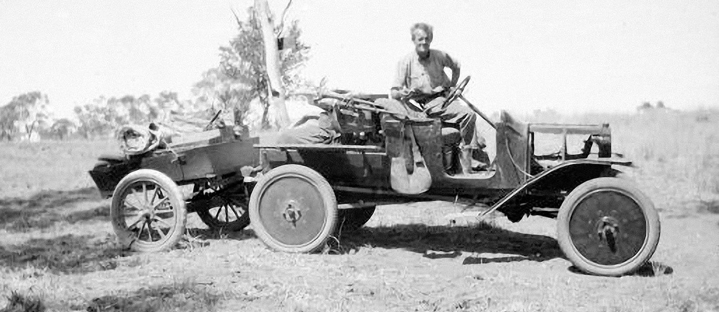 Michael Terry on his first motorised trip in 1923