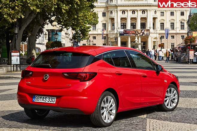 Red -opel -astra -rear