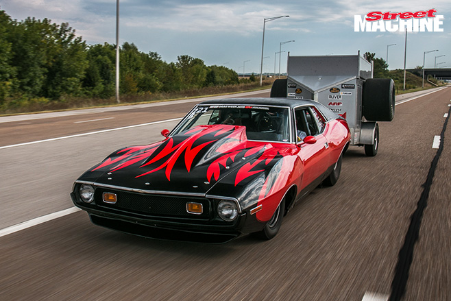 1973 javelin driving with trailer