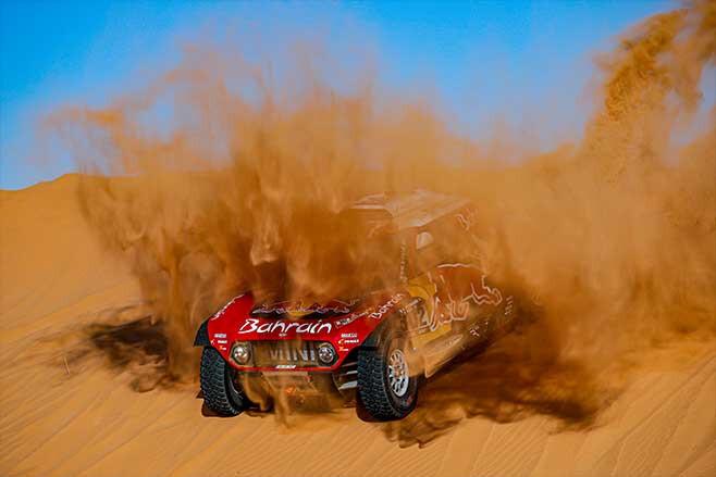 Stephane Peterhansel driving a Mini during Dakar 2020.