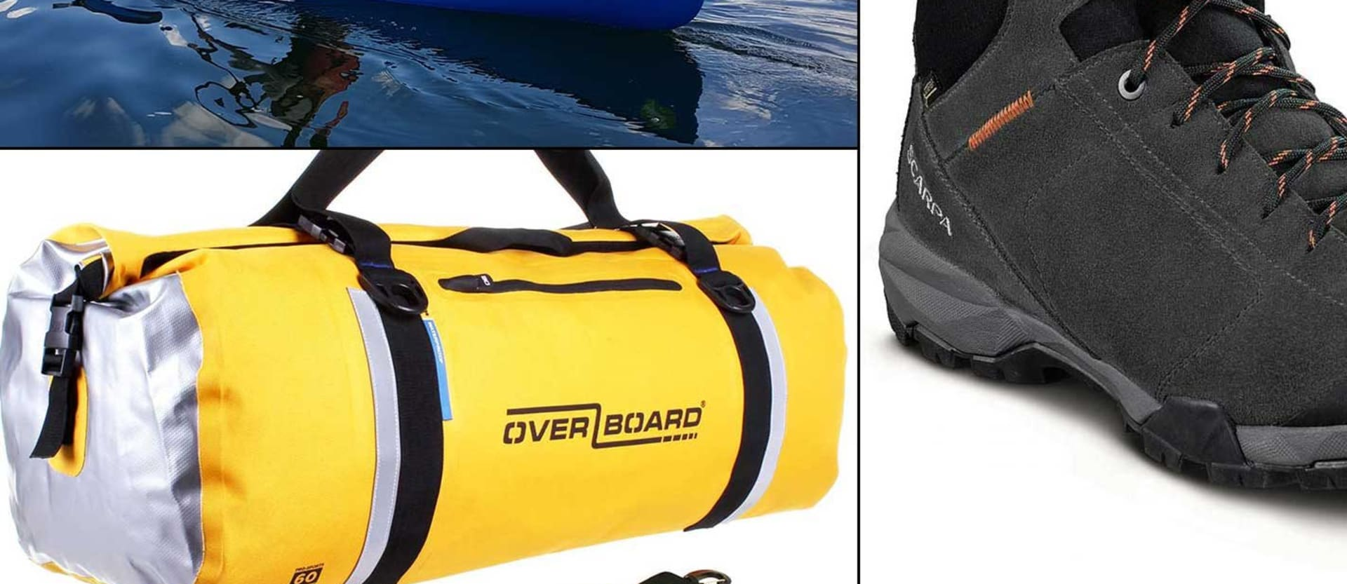 New 4x4 Gear Silverbirch canoe Overboard duffel bag Scarpa hiking boots