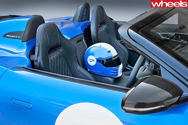 Jaguar -F-Type -Project -7-front -side -blue -white -race -helmet