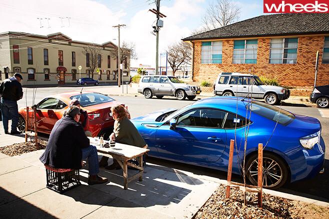 Subaru -BRZ-parked -outside -cafe