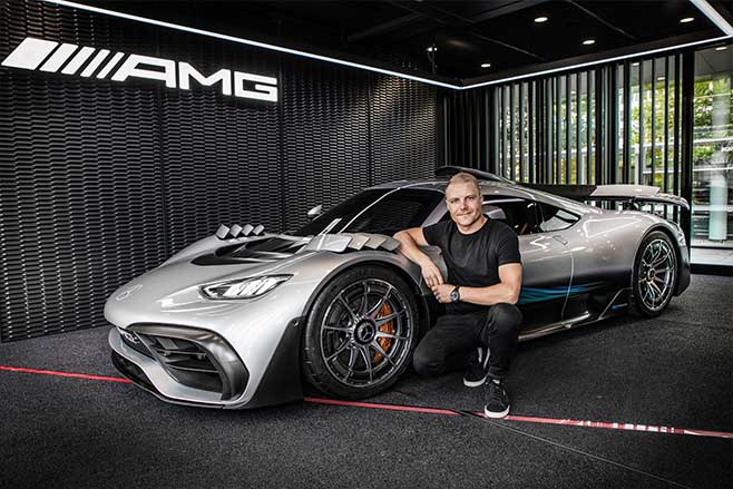 Mercedes-AMG Project One with Mercedes F1 driver Valtteri Bottas.