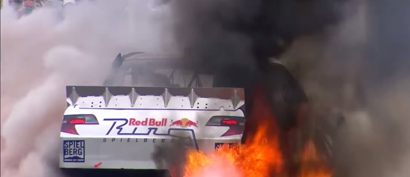Toyota NASCAR catches fire at Goodwood