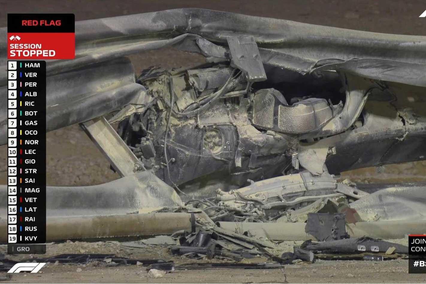 Grosjean Bahrain crash