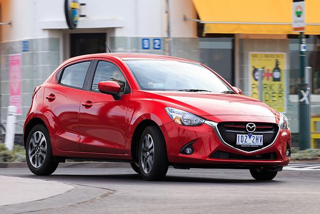 Mazda 2 driving around corner