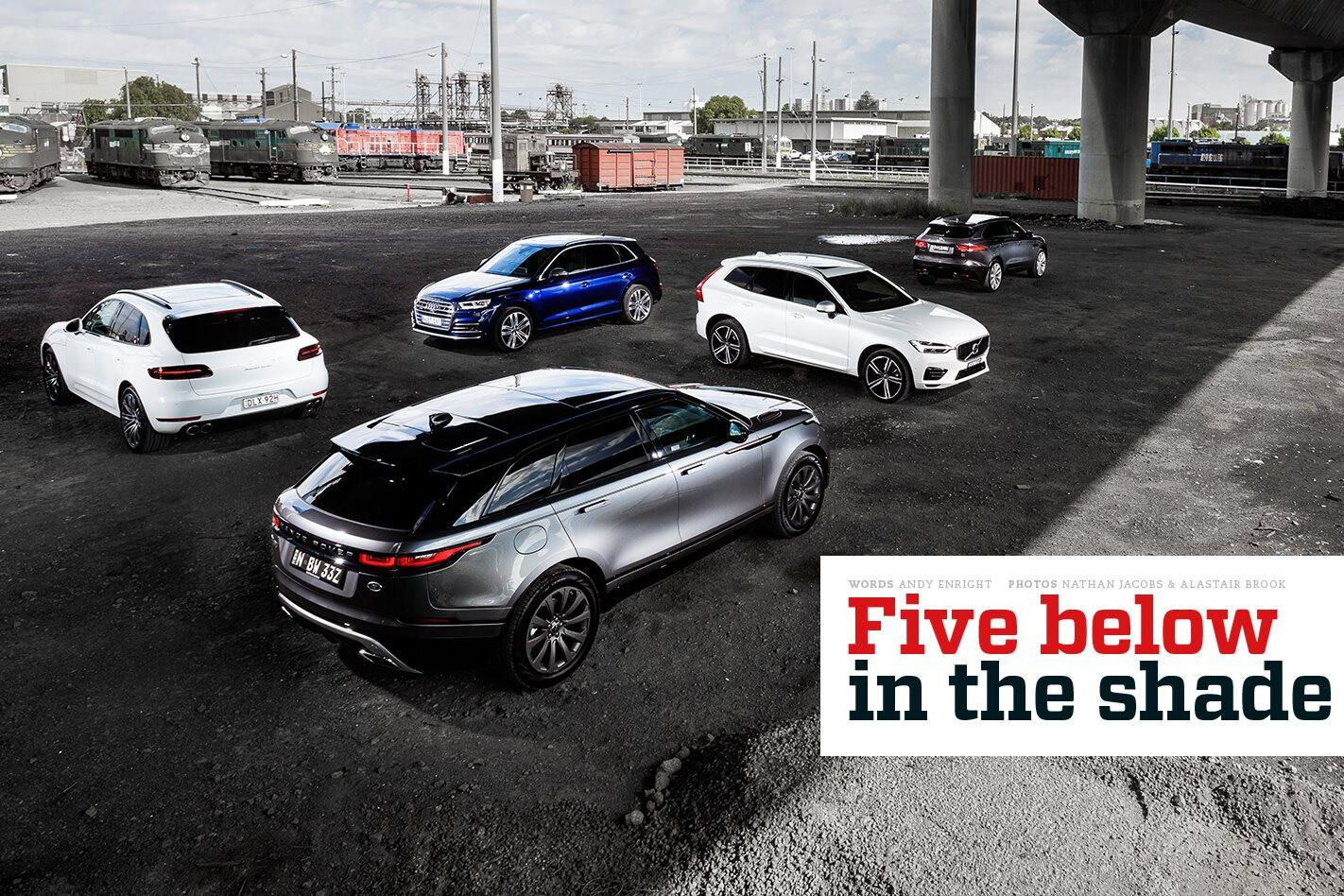 Audi SQ5 v Jaguar F-Pace S v Porsche Macan Turbo v Range Rover Velar P380 v Volvo XC60 T8 comparison review