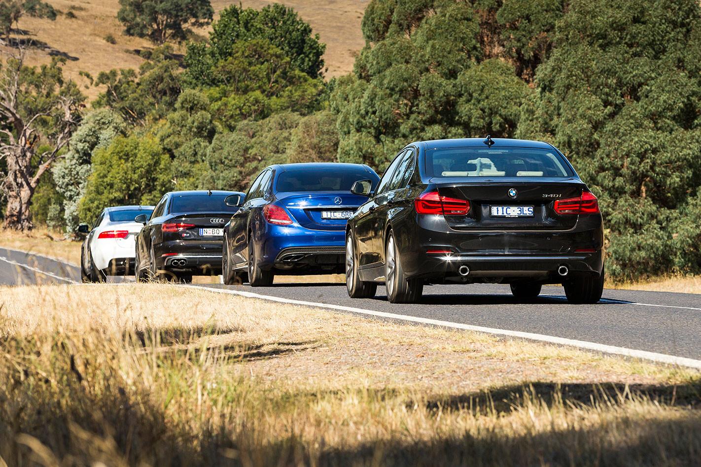 Jaguar XE S vs BMW 340i vs Mercedes-AMG C43 vs Audi S4  rear