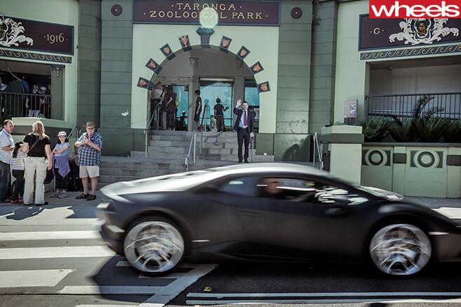 Lamborghini -Huracan -driving -past -Taronga -zoo