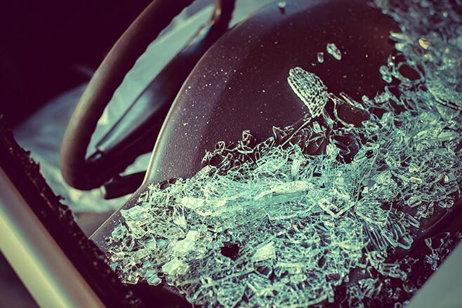 Broken Glass after car accident
