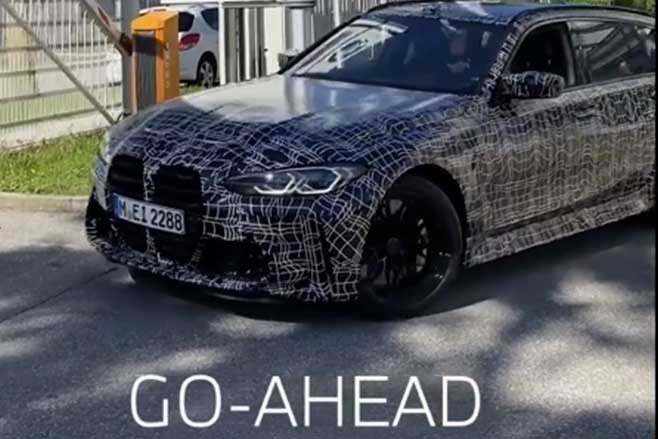 2022 BMW M3 Touring spied leaving BMW factory.
