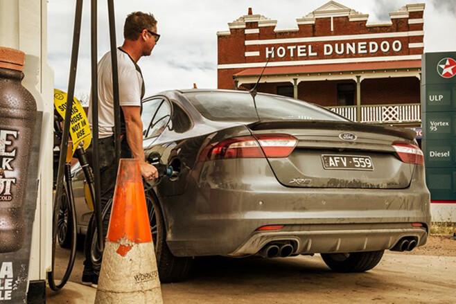 Nathan Ponchard filling up Ford XR8