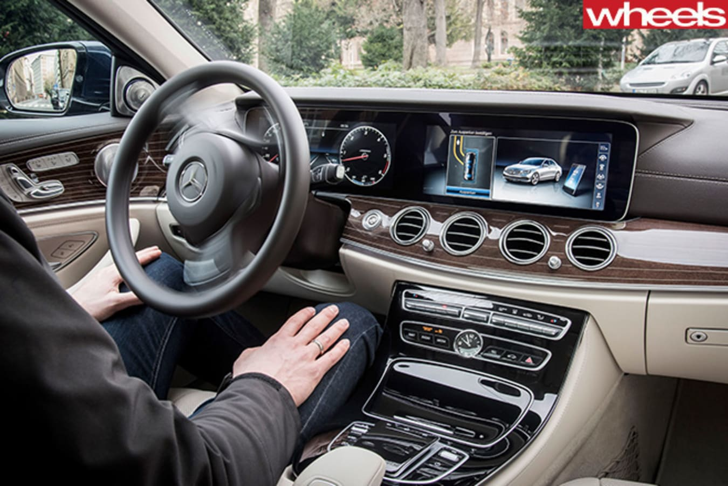 Man Driving Mercedes Benz E Class Automated System Jpg